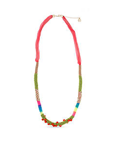 Erica Lyons Beaded All About It Collection Color Block Wrapped Necklace
