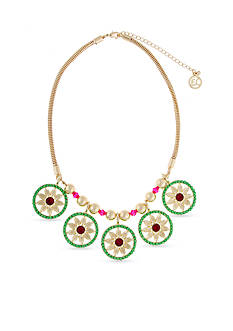 Erica Lyons Gold-Tone Bead All About It Collection Floral Disk Necklace