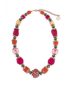 Erica Lyons Gold-Tone Back to the Fuchsia Beaded Necklace