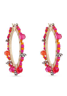 Erica Lyons Gold-Tone Back to the Fuchsia Hoop Earrings