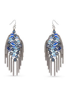 Erica Lyons Silver-Tone Indigo Girls Drop Earrings