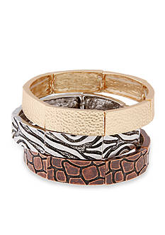 Erica Lyons Gold-Tone Welcome to the Jungle 3-Piece Bangle Bracelet Set
