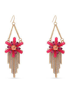 Erica Lyons Gold-Tone Back to the Fuchsia Chandelier Earrings