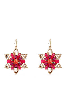 Erica Lyons Gold-Tone Back to the Fuchsia Flower Drop Earrings
