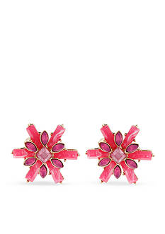 Erica Lyons Gold-Tone Back to the Fuchsia Flower Button Earrings