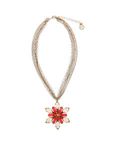 Erica Lyons Gold-Tone Back to the Fuchsia Flower Pendant Necklace