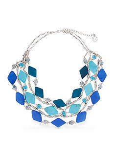 Erica Lyons Silver-Tone Indigo Girls Collar Necklace