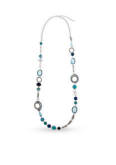 Erica Lyons Silver-Tone Indigo Girls Beaded Strand Necklace
