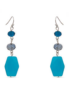 Erica Lyons Silver-Tone Indigo Girls Linear Earrings