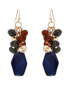 Erica Lyons Gold-Tone Chambray'd Cluster Drop Earrings