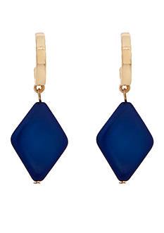 Erica Lyons Gold-Tone Chambray'd Diamond Drop Earrings