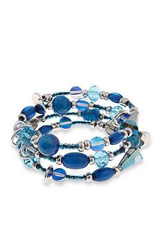 Erica Lyons Silver-Tone Indigo Girls Wrap Bracelet