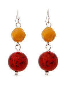 Erica Lyons Silver-Tone Orange You Glad Double Drop Earrings