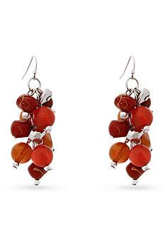 Erica Lyons Silver-Tone Orange You Glad Cluster Drop Earrings
