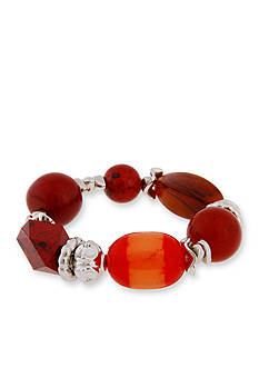 Erica Lyons Silver -Tone Orange You Glad Beaded Stretch Bracelet