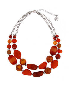 Erica Lyons Silver-Tone Orange You Glad 2 Row Short Beaded Necklace