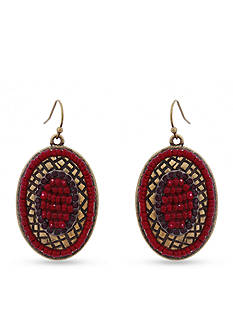 Erica Lyons Gold-Tone You Had Me At Merlot Drop Oval Earrings