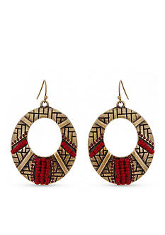 Erica Lyons Gold-Tone You Had Me At Merlot Open Oval Earrings