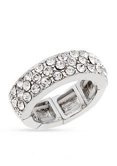 Erica Lyons Silver-Tone Crystal Wedding Band Fashion Stretch Ring