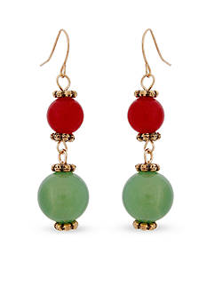 Erica Lyons Gold-Tone Just Jaded Double Drop Earrings
