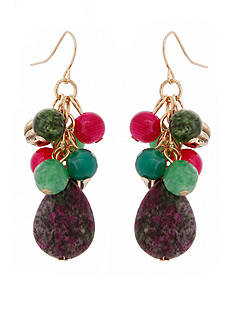 Erica Lyons Gold-Tone Just Jaded Beaded Cluster Drop Earrings