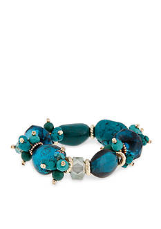 Erica Lyons Gold-Tone Teal Me About It Stretch Bracelet