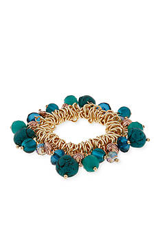 Erica Lyons Gold-Tone Teal Me About It Shaky Stretch Bracelet