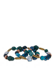 Erica Lyons Gold-Tone Teal Me About It 3 Piece Stretch Bracelet