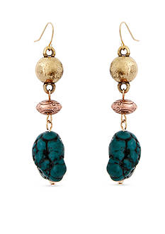 Erica Lyons Gold-Tone Teal Me About It Triple Drop Pierced Earrings