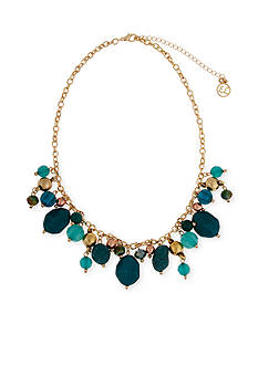 Erica Lyons Gold-Tone Teal Me About It Shaky Bead Front Necklace