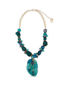 Erica Lyons Gold -Tone Teal Me About It Oval Pendant Necklace