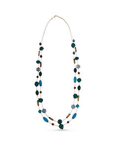 Erica Lyons Gold-Tone Teal Me About It Long Double Row Necklace