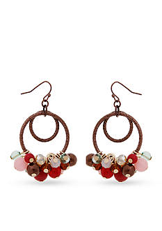 Erica Lyons Gold-Tone Mauve About You Beaded Gypsy Hoop Earrings