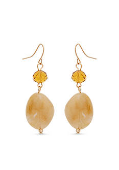 Erica Lyons Gold-Tone Straight Up Olive Graduated Drop Earrings