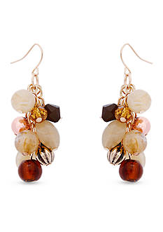 Erica Lyons Gold-Tone Straight Up Olive Beaded Cluster Drop Earrings