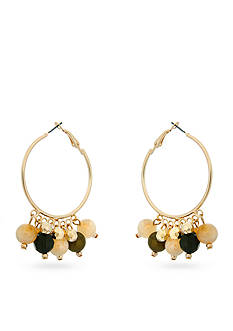Erica Lyons Gold-Tone Straight Up Olive Hoop Earrings