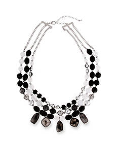 Erica Lyons Silver-Tone Dark and Stormy Triple Multistrand Necklace