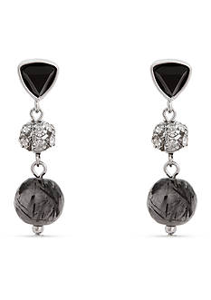 Erica Lyons Silver-Tone Dark and Stormy Triple Drop Earrings