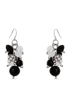Erica Lyons Silver-Tone Dark and Stormy Cluster Drop Earrings