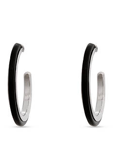 Erica Lyons Silver-Tone Dark and Stormy Hoop Earrings