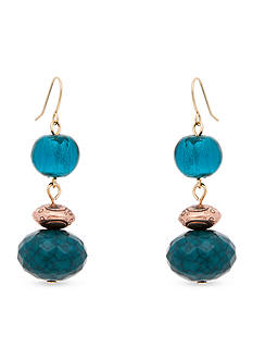 Erica Lyons Gold-Tone Teal Me About It Triple Drop Earrings