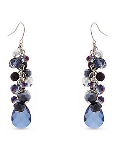 Erica Lyons Silver-Tone You're So Sapphire Cluster Drop Earrings