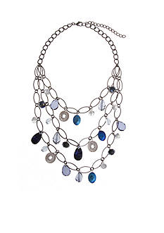 Erica Lyons Silver-Tone You're So Sapphire Triple Row Collar Necklace