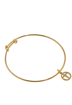 Belk Silverworks Adjustable Bangle in 24K Gold Over Silver Plate With Cross Charm Drop