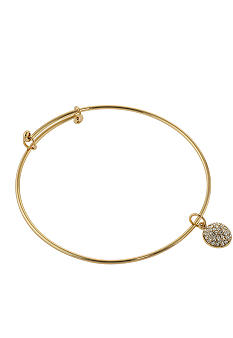 Belk Silverworks Adjustable Bangle in 24K Gold Over Silver Plate With Round Disc Charm