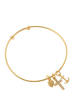 Belk Silverworks Adjustable Bangle with Cross, Anchor, Heart Charms