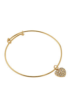 Belk Silverworks Adjustable Bangle in 24K Gold Over Silver Plate With Heart Charm