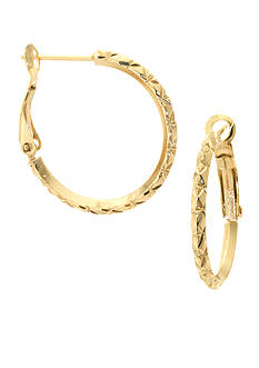 Belk Silverworks 24K Gold Plated 26-mm. Diamond Cut Hinge Hoop Earrings