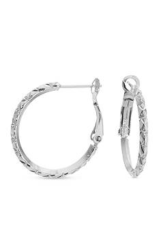 Belk Silverworks Fine Silver-Plated Diamond Cut Hoop Earring