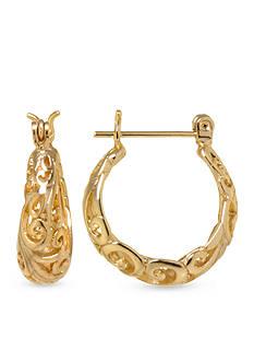 Belk Silverworks 24k Gold-Plated Swirl Hoop Earring